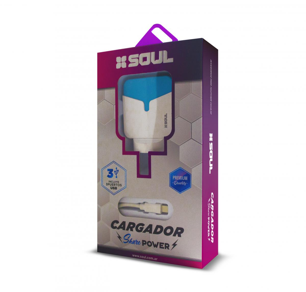 cargador 220v micro usb soul power 3.4a