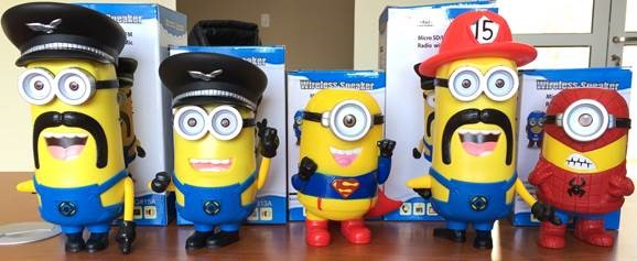 parlante portatil minion disfraces bluetooth/radio/lector mem.