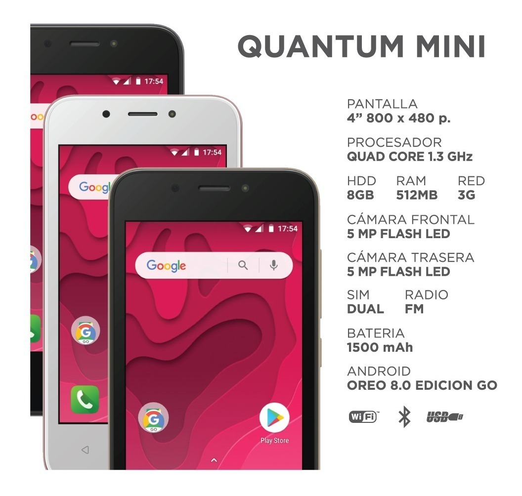 quantum mini 16gb 3g fm/quadcore/5mp/flash/4