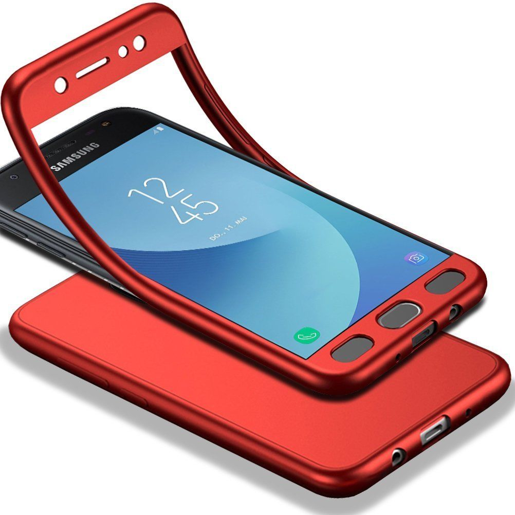 funda rigida 360 + glass moto g5 rojo